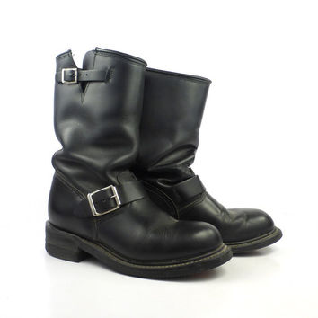 Engineer Boots Vintage 1980s Black Leather Double H men's size 6 1/2 W