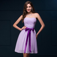 Grace Karin Strapless Lilac Short Chiffon Bridesmaids Dress Knee Length Cocktail Homecoming Evening Prom Party Dress with Band CL008911