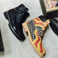 "Supreme x Timberland 6-Inch Premium Waterproof Boot USA ""Flag"" 00884497413624"