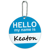 Keaton Hello My Name Is Round ID Card Luggage Tag