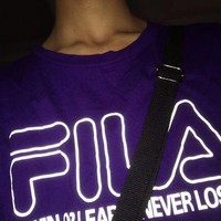 FILA Reflective Tee Shirt Luminescent Top Clothing B-XXM-MZC Purple