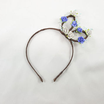 Blue White Bunny Ears - Bunny Ears Headband - Bohemian Bunny Ears - Kawaii Bunny Ears - Adult Bunny Ears - Girl Bunny Ears - Rabbit Ears