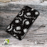 Sun and Moon Black and White Pattern Vintage Retro Tumblr Inspired Custom iPhone 6 plus case by Avallen
