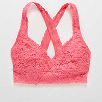 Aerie Lace Cross-Back Bralette , NYC Pink