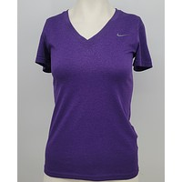 Nike Tee Womens V Neck Dri Fit Casual Shirt Size Xs Purple Short Sleeve