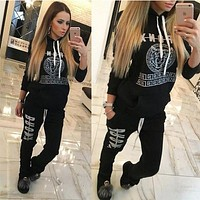Fashion Letters Long-Sleeved Sweater Two-Piece Pants