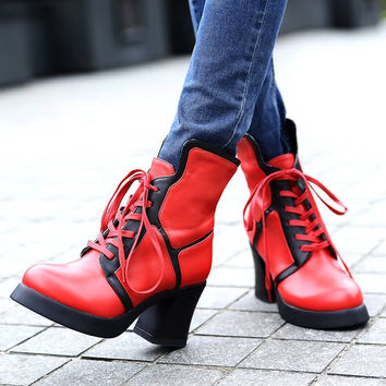 Lace Up Motorcycle Boots Platform Mixed Color High Heels Shoes Woman