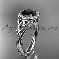14kt white gold diamond celtic trinity knot wedding ring, engagement ring with a Black Diamond center stone CT7328