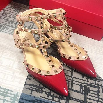 Valentino Hot Sale Women Fashion Princess Pointed Rivet Sandals Shoes