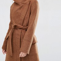 ASOS Coat With Funnel Neck and Tie Waist at asos.com