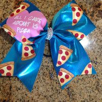 """Limited Edition Cheer Bow Inspired by Freshtops """"All I Care About Is Pizza"""""""