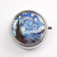 Starry Night Pill case, Pill case, Pill box, Pill Container, Van Gogh case, round pill case, starry night, gift for her (3405)