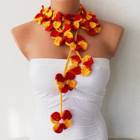 Red and Yellow Flowers Hand Crochet Lariat Scarf by fairstore