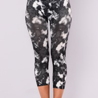 Smokey Print Active Leggings - Black