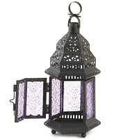 Lavender Glass Moroccan Candle Lantern - 11 inches