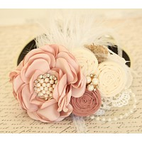 Pearl Blush Wedding Flower dog collar, Pet wedding, Burlap