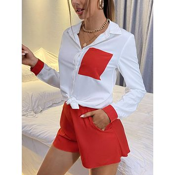 Pocket Patched Two Tone Blouse & Shorts
