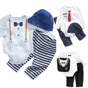 [S.Y.C] 2015 New Children Clothes Baby Boys Clothing Rompers Sets 3pcs Suits Kids Hat+Shirt+Pants Cotton Clothes Set = 1929719876