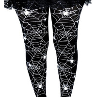 Black With White Spider Web Cobweb Gothic Tights