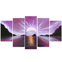 Pink View of Calming Waters Landscape Canvas Wall Art Print
