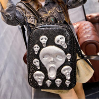 Fashion 3D Skull Gothic Backpack Leather College Shouler Bag for Girls and Boys BLACK/GOLD/SILVER