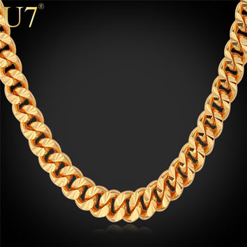 """U7 Gold Necklace With """"18K"""" Stamp Trendy 18K Gold Plated 6MM 18//32 Inches 81cm Long Cuban Link Chain Necklace Men Jewelry N383"""