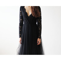 Black Tulle and Lace Long Sleeves maxi dress