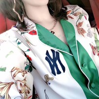 New York Yankees Long Sleeve Multicolor Pattern Print Fashion Two-Piece Suit Ci