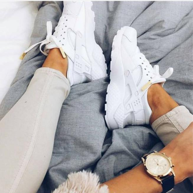 """Image of """"NIKE""""AIR Huarache Running Sport Casual Shoes Sneakers White"""