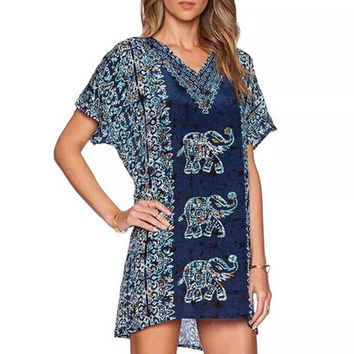 Boho mini elephant dress