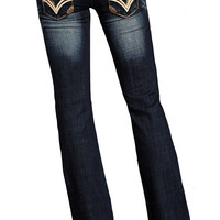 Rock & Roll Cowgirl Low Rise Boot Cut Jeans with Leather Flap Pocket (Closeout)
