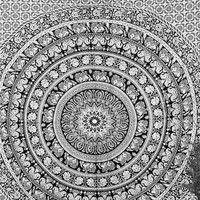 Black & White Elephant Tapestry Indian Cotton Tapestry Wall Hanging, Hippie Tapestries Beach Blanket Wall Decor