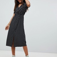 Influence Tall Shirred Sleeve Polka Dot Midi Dress at asos.com