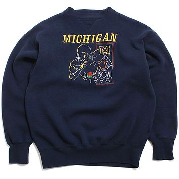 University of Michigan 1998 Rose Bowl Embroidered Player Outline Midwest Embroidery Crewneck Sweatshirt Navy (Medium)