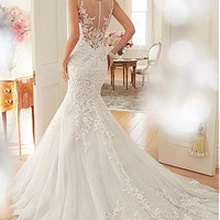 [169.99] Elegant Tulle Jewel Neckline Natural Waistline Mermaid Wedding Dress With Beaded Lace Appliques - Dressilyme.com