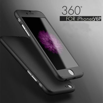 """Ultra Thin Full Body Coverage Protection Hard Slim iPhone 6 Case with Tempered Glass Screen Protector for Apple iPhone 6 6S 4.7"""""""
