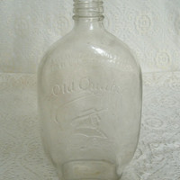 Vintage Old Quaker Liquor Bottle, whiskey retro bar entertainment glassware 1960s housewares party home decor