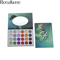ROSAWEE 24 Color Diamond Pressed Glitter Eyeshadow Unicorn Palette High Pigment Natural Eye Shadow With Mirror ES-SKY-05#