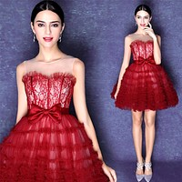 Don's Bridal In Stock Red Embroidery Short Prom Party Cocktail Dresses 2016 Cocktail Dress vestidos de coctel robe cocktail