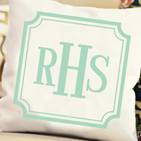 monogrammed pillow cover - NEW COLORS and styles - customize font style and ink color