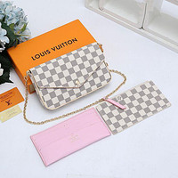 LV Louis Vuitton New fashion monogram leather shoulder bag envelope bag three piece suit women Bag