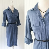 vintage 1970s chambray blue polka dot viyella knit midi dress // bohovmenswear shirt style made in scotland // size M
