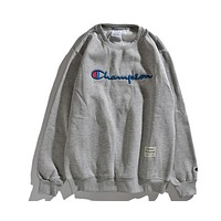 Champion 2018 autumn and winter new round neck sketch embroidery sweater F-CP-ZDL-YXC grey
