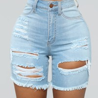 Round Two Denim Bermudas - Light Blue Wash