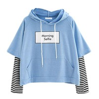 2018 autumn hoodies for women  kpop sweatshirt with a hood crop patchwork blouse pullover hoody ladies