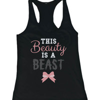 Work Out Tank Top – This Beauty's a Beast – Cute Workout Tank, Gym Shirt