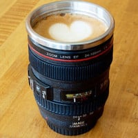 Unique Cool Stainless Steel Camera Lens Coffee Mug + Nice Gift Ring