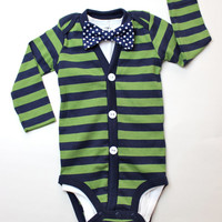 Cardigan and Bow Tie Set - Green with Navy Dot - Trendy Baby Boy - cardigan Onesuits