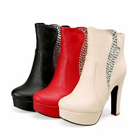 Rhinestone Ankle Boots High Heels Women Shoes Fall|Winter 1028
