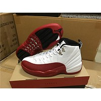 Air Jordan 12 Rising Sun while red Basketball Shoes 36-47